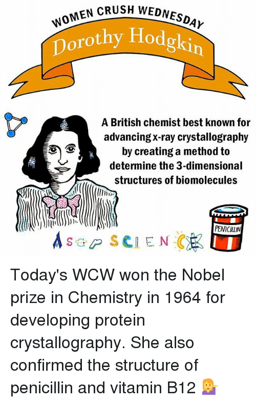b12: SH WOMEN CRUSH WEDNESDAY  w  Dorothy Hodgkin  A British chemist best known for  advancing X-ray crystallography  by creating a method to  determine the 3-dimensional  structures of biomolecules  PENICILLIN  s GP SCIENCE Today's WCW won the Nobel prize in Chemistry in 1964 for developing protein crystallography. She also confirmed the structure of penicillin and vitamin B12 💁