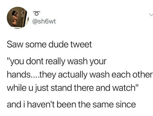 "Your Hands: @sh6wt  Saw some dude tweet  ""you dont really wash your  hands..they actually wash each other  while u just stand there and watch""  and i haven't been the same since"