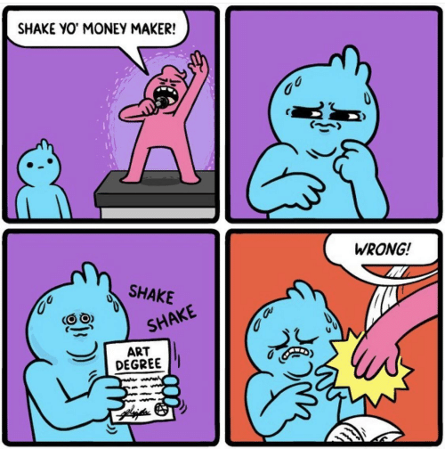 maker: SHAKE YO MONEY MAKER!  WRONG!  SHAKE  SHAKE  ART  DEGREE  wwww