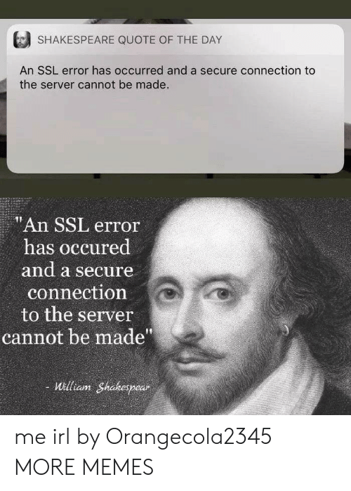 "Dank, Memes, and Shakespeare: SHAKESPEARE QUOTE OF THE DAY  An SSL error has occurred and a secure connection to  the server cannot be made.  ""An SSL error  has occured  and a secure  connection  to the server  cannot be made""  William Shakespear me irl by Orangecola2345 MORE MEMES"