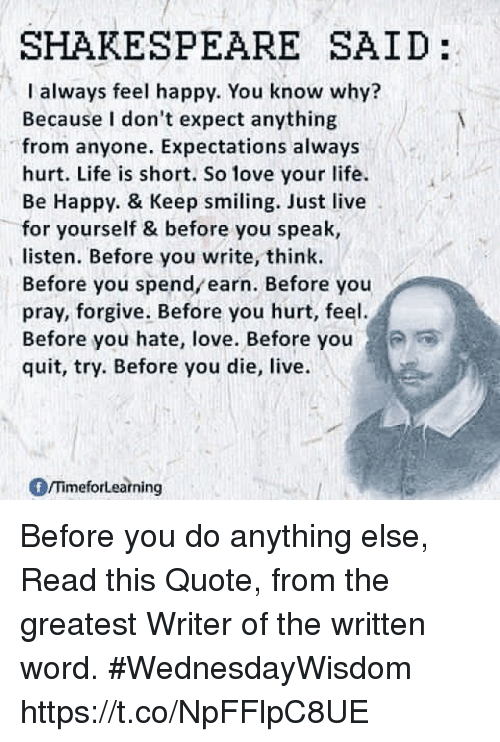 Shakespeare Said I Always Feel Happy You Know Why Because I Don T