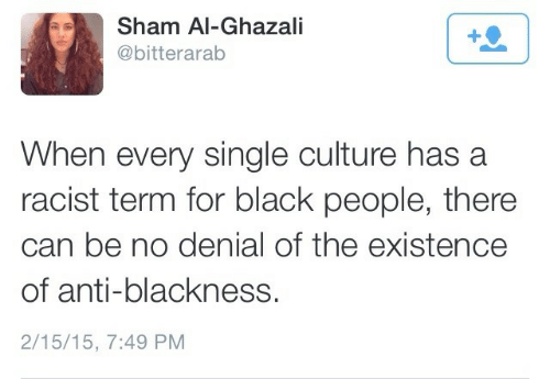 For Black People: Sham Al-Ghazali  @bitterarab  When every single culture has a  racist term for black people, there  can be no denial of the existence  of anti-blackness.  2/15/15, 7:49 PM