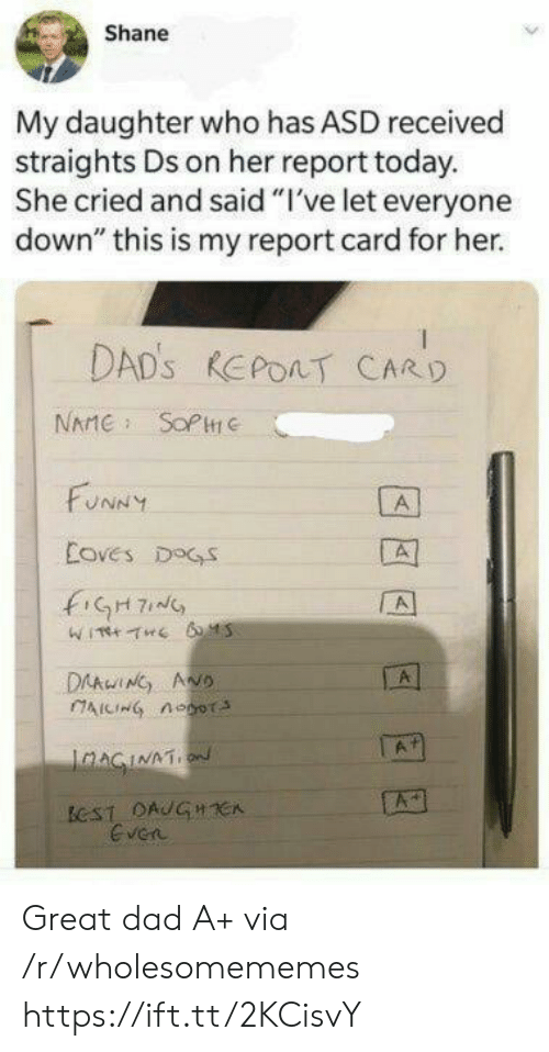 "Shane: Shane  My daughter who has ASD received  straights Ds on her report today.  She cried and said ""I've let everyone  down"" this is my report card for her.  DAD'S REPOAT CARD  NAME SOPC  FUNNY  A  Coves DOGS  fiGH7  A  DAAwING ANO  AICING noor  A  IaAGINATION  ECST DAUGHCA  Even Great dad A+ via /r/wholesomememes https://ift.tt/2KCisvY"