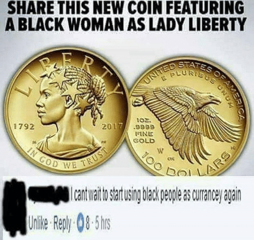 bol: SHARE THIS NEW COIN FEATURING  A BLACK WOMAN AS LADY LIBERTY  LURTs  ptfis  102.  2017.9989  1792  FINE  SOLD  ctc  이기 !  bol  to artusing back peple s curane agairn  Uile epy0-5