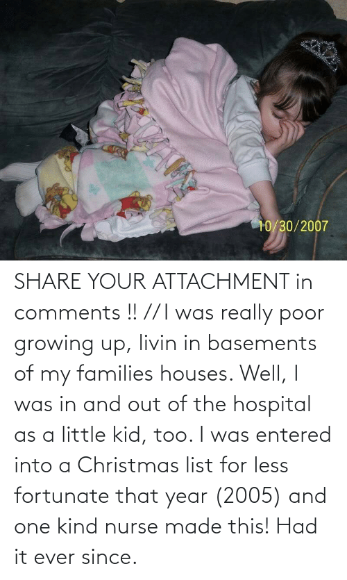 fortunate: SHARE YOUR ATTACHMENT in comments !! // I was really poor growing up, livin in basements of my families houses. Well, I was in and out of the hospital as a little kid, too. I was entered into a Christmas list for less fortunate that year (2005) and one kind nurse made this! Had it ever since.