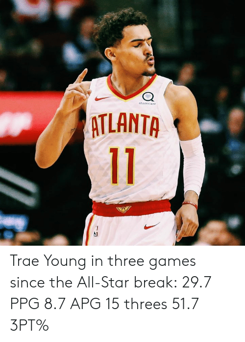 Threes: sharecare  ATLANTA Trae Young in three games since the All-Star break:  29.7 PPG 8.7 APG 15 threes 51.7 3PT%