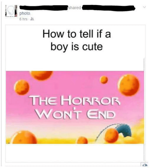 Cute, How To, and Boy: shared  photo.  6 hrs  How to tell if a  boy is cute  THE HORROR  WONT END