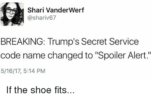 "Code Names: Shari VanderWerf  @shariv67  BREAKING: Trump's Secret Service  code name changed to ""Spoiler Alert.""  5/16/17, 5:14 PM If the shoe fits..."