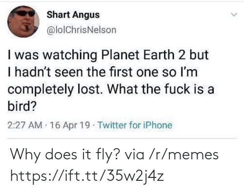 A Bird: Shart Angus  @lolChrisNelson  I was watching Planet Earth 2 but  I hadn't seen the first one so Im  completely lost. What the fuck is a  bird?  2:27 AM 16 Apr 19 Twitter for iPhone Why does it fly? via /r/memes https://ift.tt/35w2j4z