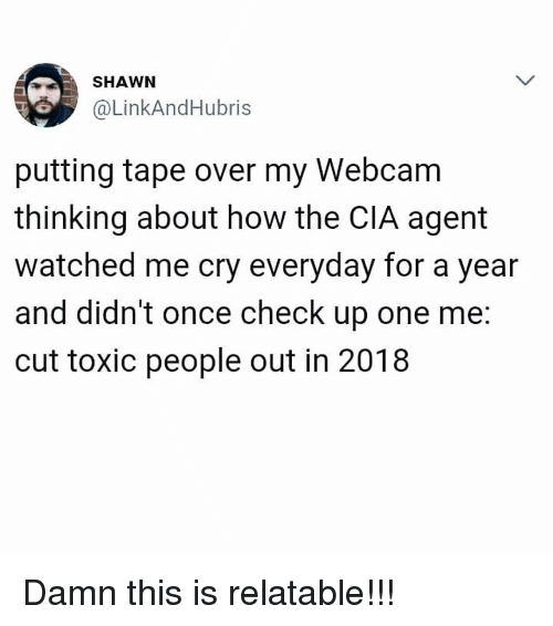 Memes, Relatable, and 🤖: SHAWN  @LinkAndHubris  putting tape over my Webcam  thinking about how the CIA agent  watched me cry everyday for a year  and didn't once check up one me:  cut toxic people out in 2018 Damn this is relatable!!!