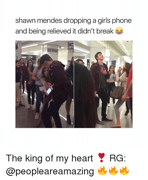 Girls, Phone, and Break: shawn mendes dropping a girls phone  and being relieved it didn't break The king of my heart ❣ RG: @peopleareamazing 🔥🔥🔥
