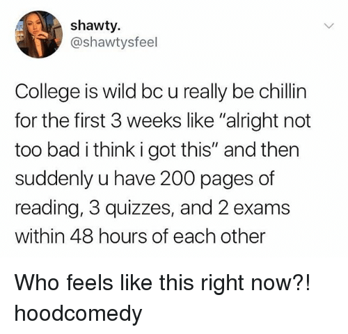"Bad, Bailey Jay, and College: shawty.  @shawtysfeel  College is wild bc u really be chillin  for the first 3 weeks like ""alright not  too bad i think i got this"" and then  suddenly u have 200 pages of  reading, 3 quizzes, and 2 exams  within 48 hours of each other Who feels like this right now?! hoodcomedy"