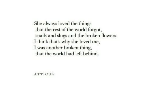 Slugs: She always loved the things  that the rest of the world forgot,  snails and slugs and the broken flowers.  I think that's why she loved me,  I was another broken thing,  that the world had left behind.  ATTICUS