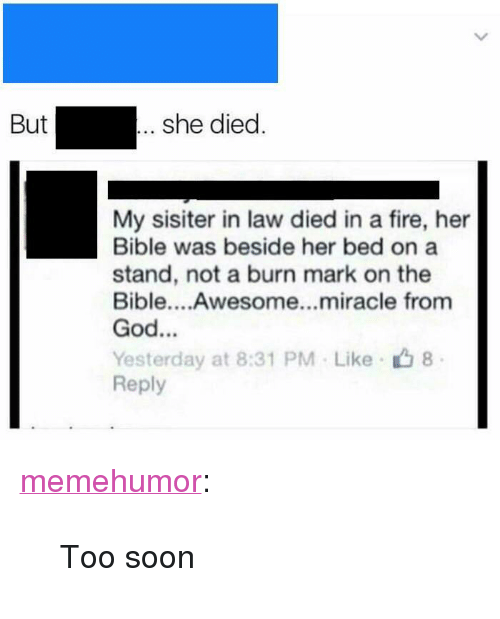 """Fire, God, and Soon...: she died  But  My sisiter in law died in a fire, her  Bible was beside her bed on a  stand, not a burn mark on the  Bible....Awesome...miracle from  God...  Yesterday at 8:31 PM Like 8  Reply <p><a href=""""http://memehumor.net/post/171661039643/too-soon"""" class=""""tumblr_blog"""">memehumor</a>:</p>  <blockquote><p>Too soon</p></blockquote>"""
