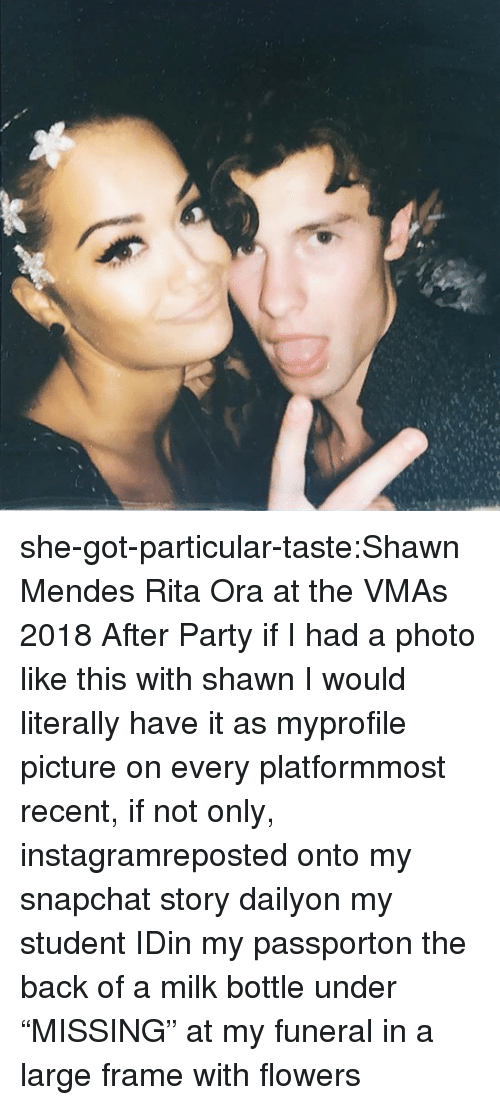"""VMAs: she-got-particular-taste:Shawn Mendes  Rita Ora at the VMAs 2018 After Party    if I had a photo like this with shawnI would literally have it as myprofile picture on every platformmost recent, if not only, instagramreposted onto my snapchat story dailyon my student IDin my passporton the back of a milk bottle under """"MISSING""""at my funeral in a large frame with flowers"""