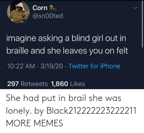She Had: She had put in brail she was lonely. by Black212222223222211 MORE MEMES