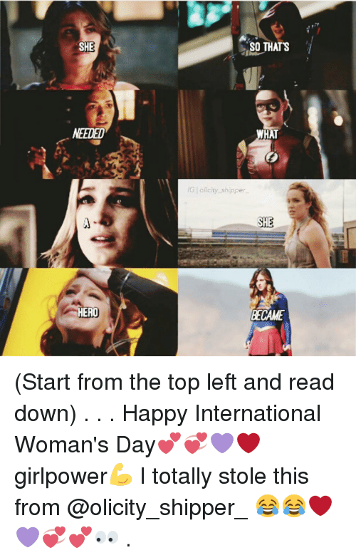 Shipper: SHE  NEEDED  AERO  SO THATS  HAT  aicity shipper  SH  BECAME (Start from the top left and read down) . . . Happy International Woman's Day💕💞💜❤ girlpower💪 I totally stole this from @olicity_shipper_ 😂😂❤💜💞💕👀 .