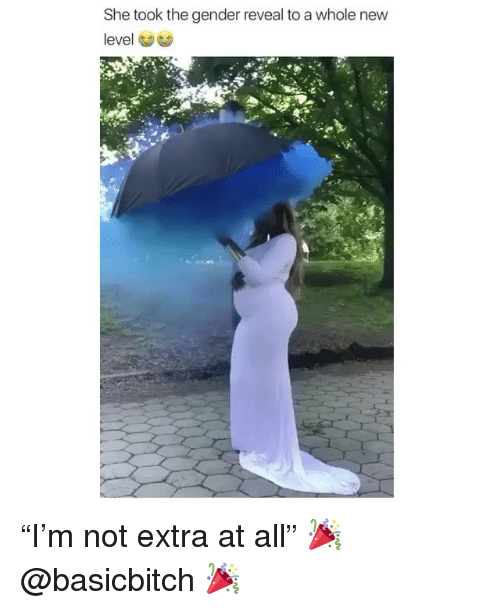 "Girl Memes, Gender, and She: She took the gender reveal to a whole new  level ""I'm not extra at all"" 🎉 @basicbitch 🎉"
