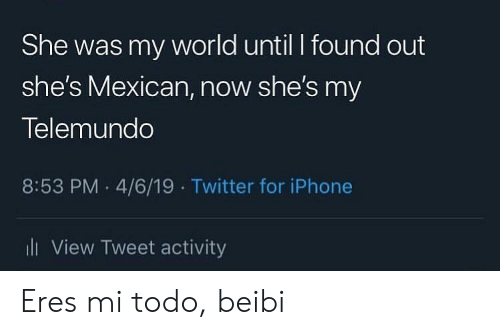 4 6: She was my world until I found out  she's Mexican, now she's my  Telemundo  8:53 PM 4/6/19 Twitter for iPhone  iView Tweet activity Eres mi todo, beibi