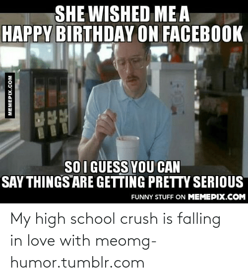 Getting Pretty Serious: SHE WISHED ME A  HAPPY BIRTHDAY ON FACEBOOK  SO I GUESS YOU CAN  SAY THINGS ARE GETTING PRETTY SERIOUS  FUNNY STUFF ON MEMEPIX.COM  MEMEPIX.COM My high school crush is falling in love with meomg-humor.tumblr.com