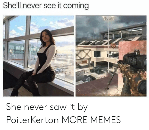 Never Saw It: She'll never see it coming She never saw it by PoiterKerton MORE MEMES