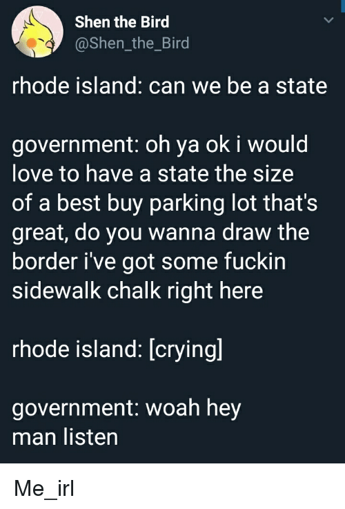 Best Buy, Crying, and Love: Shen the Bird  @Shen_the_Bird  rhode island: can we be a state  government: oh ya ok i would  love to have a state the size  of a best buy parking lot that's  great, do you wanna draw the  border i've got some fuckin  sidewalk chalk right here  rhode island: [crying]  government: woah hey  man listen