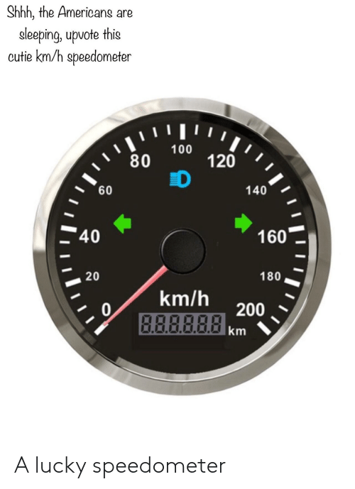 the americans: Shhh, the Americans are  eleeping, upvote this  cutie km/h speedometer  ווויו י  100  80  120  D  60  140  40  160  20  180  km/h  0  B.ABBRA200  km A lucky speedometer