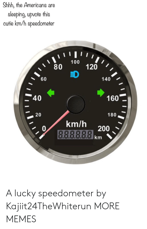 the americans: Shhh, the Americans are  eleeping, upvote this  cutie km/h speedometer  ווויו י  100  80  120  D  60  140  40  160  20  180  km/h  0  B.ABBRA200  km A lucky speedometer by Kajiit24TheWhiterun MORE MEMES
