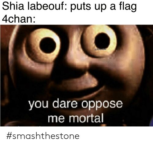 4chan, Shia LaBeouf, and Dank Memes: Shia labeouf: puts up a flag  4chan:  u/AthenOw  you dare oppose  me mortal #smashthestone