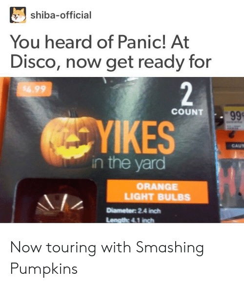 kes: shiba-official  You heard of Panic! At  Disco, now get ready for  COUNT  KES  CAUT  in the yard  ORANGE  LIGHT BULBS  Diameter: 2.4 inch Now touring with Smashing Pumpkins