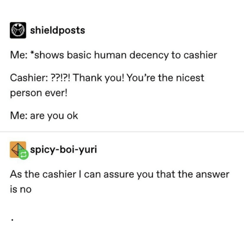 Spicy: |shieldposts  Me: *shows basic human decency to cashier  Cashier: ??!?! Thank you! You're the nicest  person ever!  Me: are you ok  spicy-boi-yuri  As the cashier I can assure you that the answer  is no .