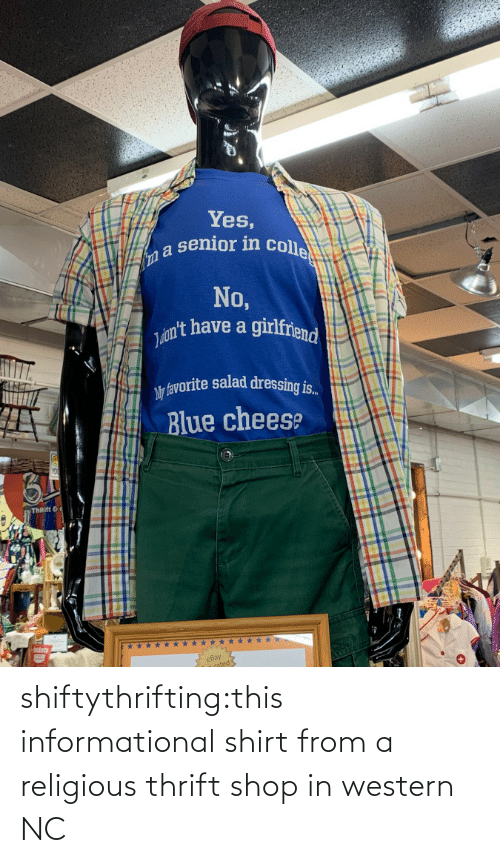 shirt: shiftythrifting:this informational shirt from a religious thrift shop in western NC