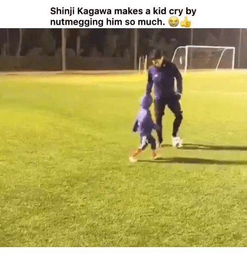 Memes, 🤖, and Him: Shinji Kagawa makes a kid cry by  nutmegging him so much.