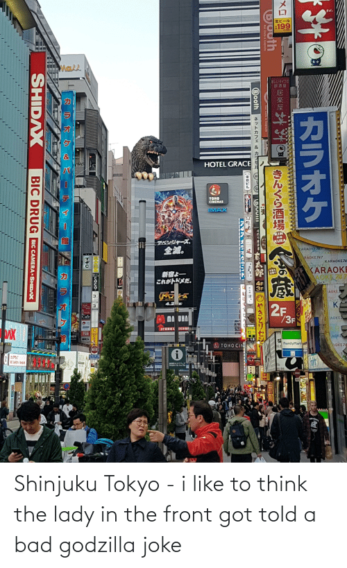 To Think: Shinjuku Tokyo - i like to think the lady in the front got told a bad godzilla joke