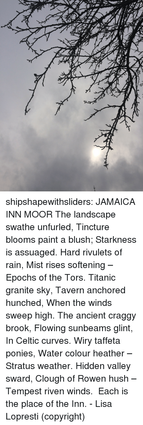 Celtic, Titanic, and Tumblr: shipshapewithsliders: JAMAICA INN MOOR The landscape swathe unfurled, Tincture blooms paint a blush; Starkness is assuaged. Hard rivulets of rain, Mist rises softening – Epochs of the Tors. Titanic granite sky, Tavern anchored hunched, When the winds sweep high. The ancient craggy brook, Flowing sunbeams glint, In Celtic curves. Wiry taffeta ponies, Water colour heather – Stratus weather. Hidden valley sward, Clough of Rowen hush – Tempest riven winds.   Each is the place of the Inn.  - Lisa Lopresti (copyright)