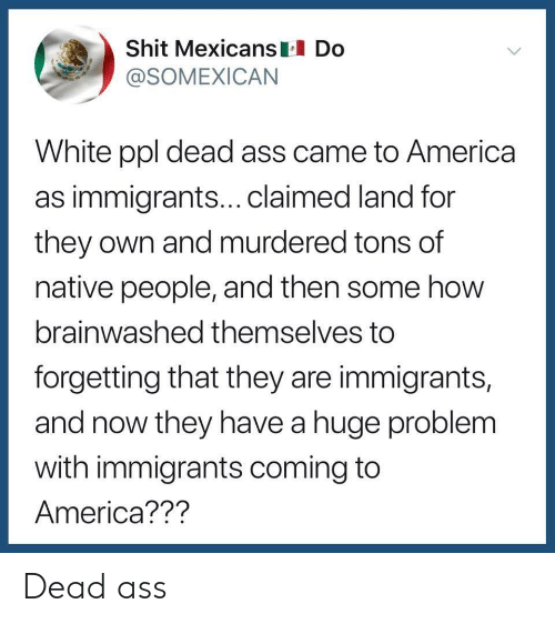 Brainwashed: Shit Mexicans Do  @SOMEXICAN  White ppl dead ass came to America  as immigrants...claimed land for  they own and murdered tons of  native people, and then some how  brainwashed themselves to  forgetting that they are immigrants,  and now they have a huge problem  with immigrants coming to  America??? Dead ass