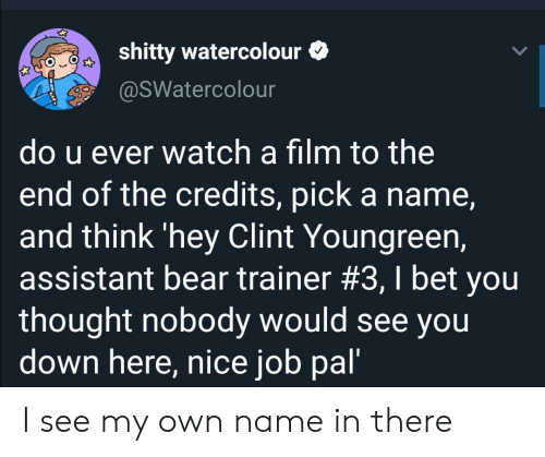 trainer: shitty watercolour  @SWatercolour  do u ever watch a film to the  end of the credits, pick a name,  and think 'hey Clint Youngreen,  assistant bear trainer #3, I bet you  thought nobody would see you  down here, nice job pal' I see my own name in there