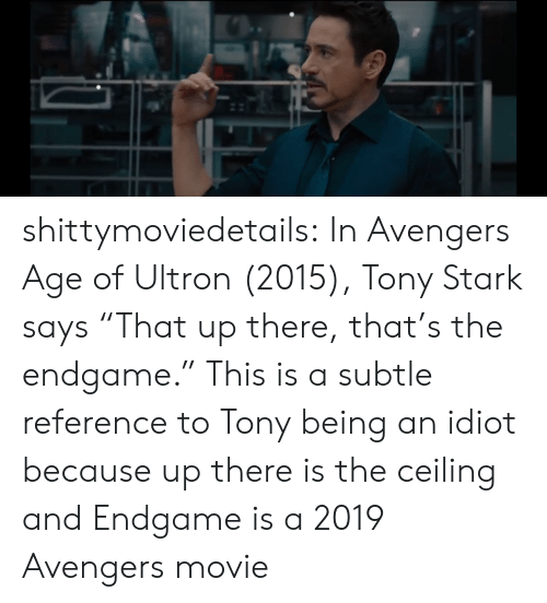 """ultron: shittymoviedetails:  In Avengers Age of Ultron (2015), Tony Stark says """"That up there, that's the endgame."""" This is a subtle reference to Tony being an idiot because up there is the ceiling and Endgame is a 2019 Avengers movie"""