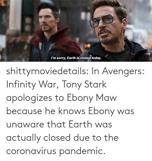 stark: shittymoviedetails:  In Avengers: Infinity War, Tony Stark apologizes to Ebony Maw because he knows Ebony was unaware that Earth was actually closed due to the coronavirus pandemic.