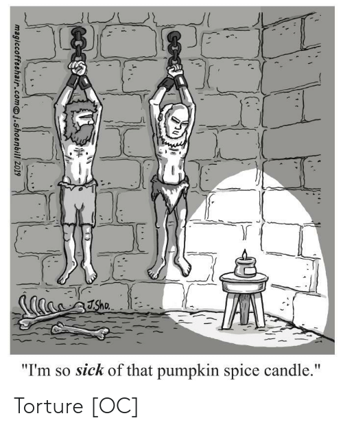 "Pumpkin, Sick, and Spice: Sho  ""I'm so sick of that pumpkin spice candle.""  t  magiccoffeehair.comj.shoenbill 2019 Torture [OC]"