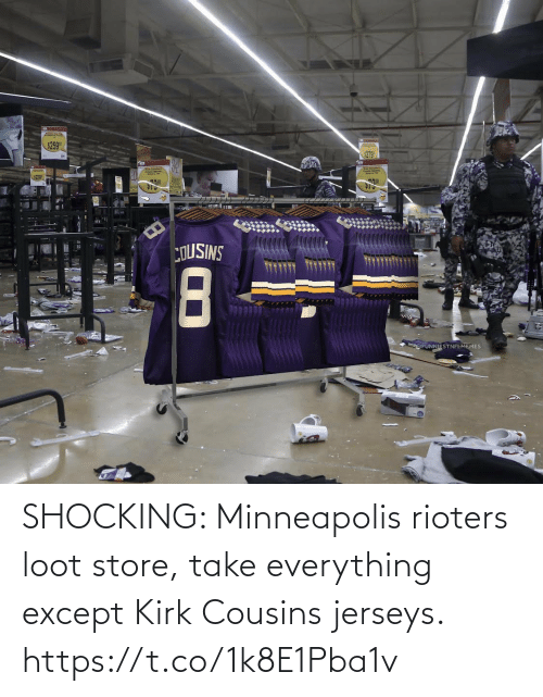 Football: SHOCKING: Minneapolis rioters loot store, take everything except Kirk Cousins jerseys. https://t.co/1k8E1Pba1v