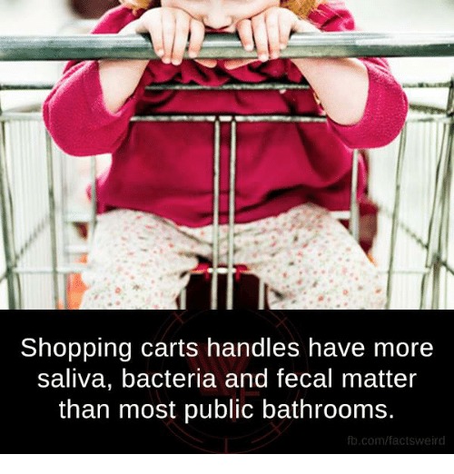 fecal matter: Shopping carts handles have more  saliva, bacteria and fecal matter  than most public bathrooms  fb.com/facts Weird