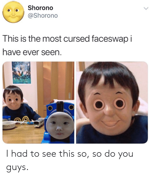 Dank, 🤖, and You: Shorono  @Shorono  This is the most cursed faceswap I  have ever seen I had to see this so, so do you guys.