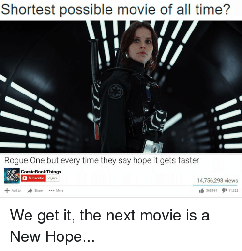 Memes, Rogue, and Comics: Shortest possible movie of all time?  Rogue One but every time they say hope it gets faster  COMIC  ComicBook Things  BOOK  Subscribe  29,427  56,298 views  Add to  Share  More  365,994  11.322 We get it, the next movie is a New Hope...