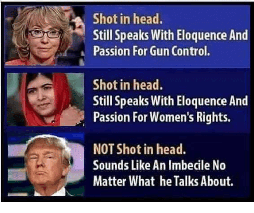 Head, Memes, and Control: Shot in head.  Still speaks with Eloquence And  Passion For Gun Control.  Shot in head.  Still Speaks With Eloquence And  Passion For Women's Rights.  NOT Shot in head.  Sounds Like An Imbecile No  Matter What heTalks About.