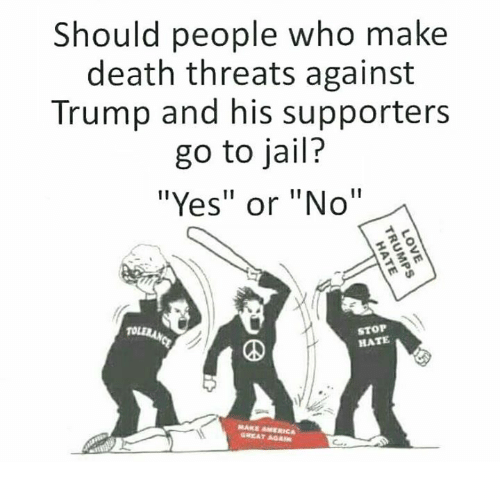 """aga: Should people who make  death threats against  Trump and his supporters  go to jail?  """"Yes"""" or """"No""""  STOP  HATE  GREAT AGA"""