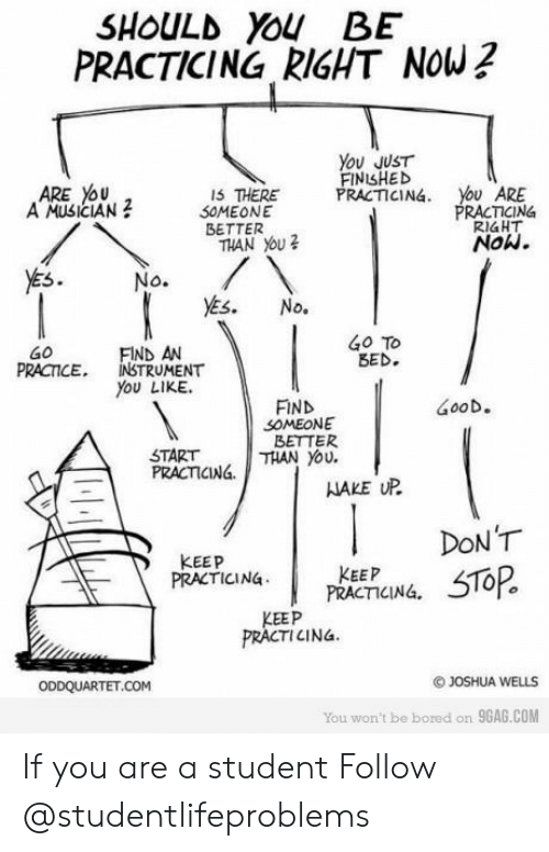nake: SHOULD YOU BE  PRACTICING RIGHT NOW?  You JUST  FINISHED  PRACTICING  ARE YoU  A MUSICIAN  ARE  RACTICING  RIaHT  Now.  IS THERE  2 S0MEONE  BETTER  THAN You  5  Go To  BED.  FIND AN  PRCTICE, INSTRUMENT  You LIKE.  FIND  GooD。  SOMEONE  BETTER  START  PRACTCINá.  NAKE UP  KEEP  PRACTICING PRACEPCING, 5T0R  PRACTICINá.  KEEP  PRACTICINa  OJOSHUA WELLS  You won't be bored on 9GAG.COM If you are a student Follow @studentlifeproblems