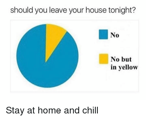 Chill, Dank, and Home: should you leave your house tonight?  No  No but  in yellow Stay at home and chill