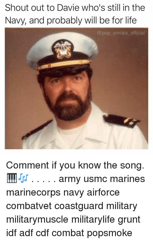 Life, Memes, and Pop: Shout out to Davie who's still in the  Navy, and probably will be for life  @pop_smoke_official Comment if you know the song. 🎹🎶 . . . . . army usmc marines marinecorps navy airforce combatvet coastguard military militarymuscle militarylife grunt idf adf cdf combat popsmoke