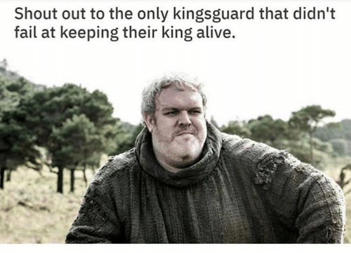 Alive, Fail, and Game of Thrones: Shout out to the only kingsguard that didn't  fail at keeping their king alive.
